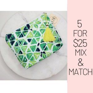 Handbags - 5 for $25 Green Abstract Print Pouch/ Cosmetic Bag